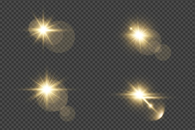 Set of realistic golden glowing lens flares