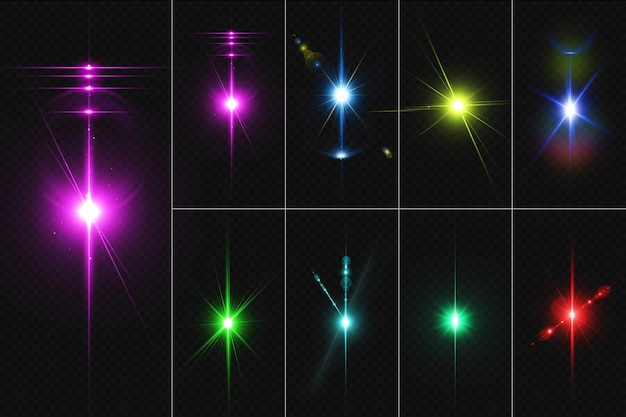 Set of realistic lighting lens flares and stars