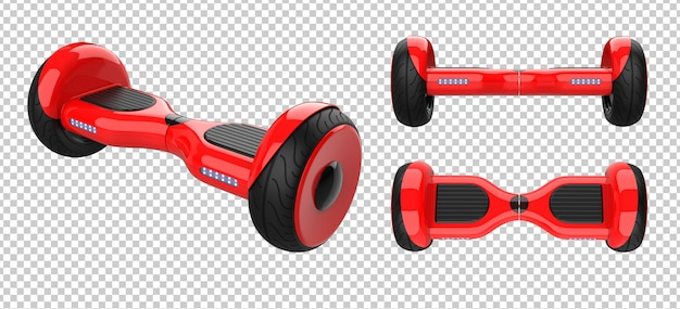 Set of red self balancing scooter