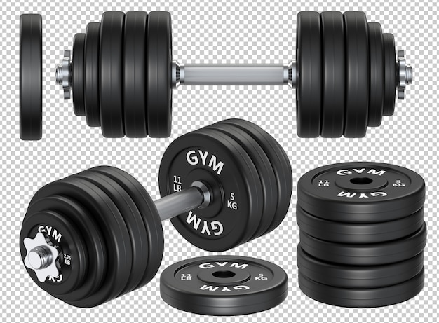 Set of rubber and metal dumbbells and plate weights