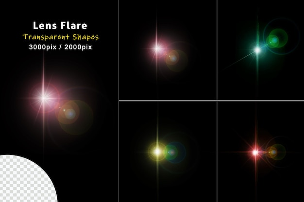 Set of shining colorful sparkles and lens flares glowing lights isolated on transparent background