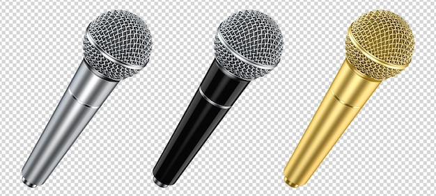 Set of silver, black and gold wireless dynamic microphones