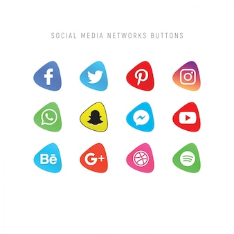 Set of social media network buttons