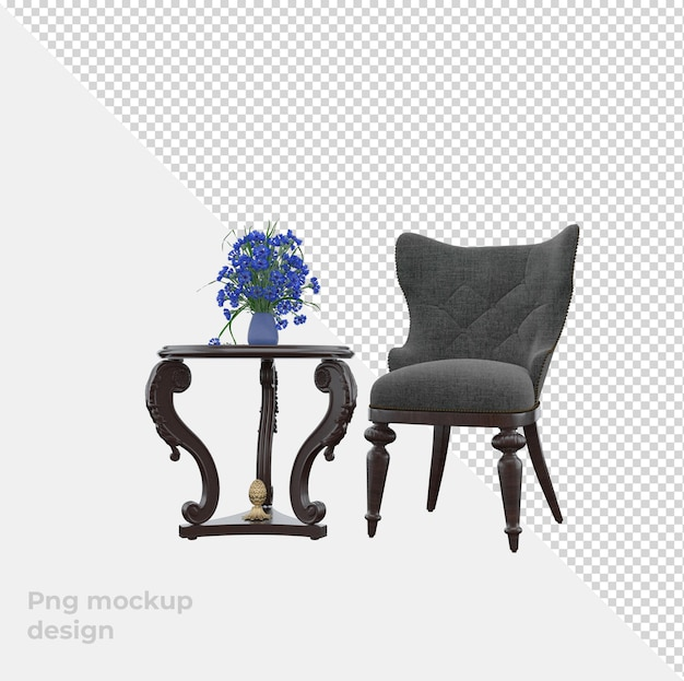 Set sofa 3d rendering decoration and interior design Premium Psd