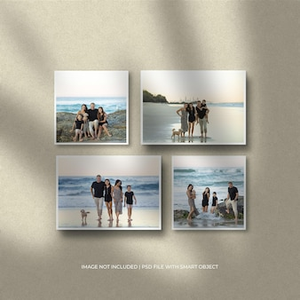 Set of square paper frame mockup and shadow overlay