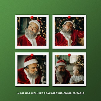 Set of square paper frame photo mockup for christmas