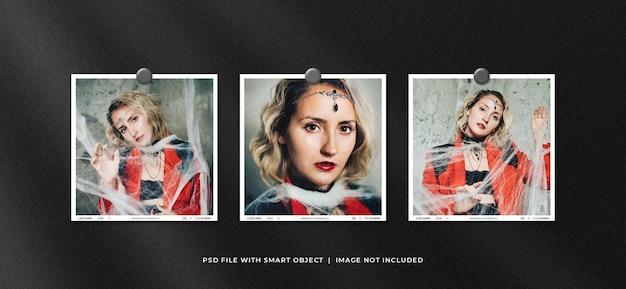 Set of square polaroid photo frame set mockup