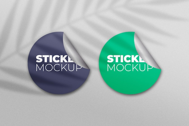 Set of stickers mockup with shadow