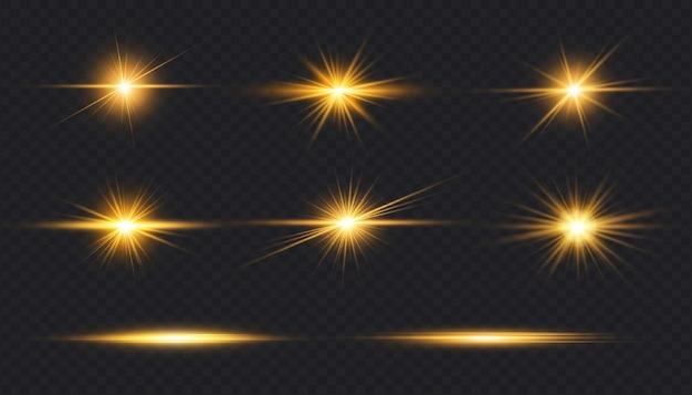 Set of transparent digital golden lens flares isolated