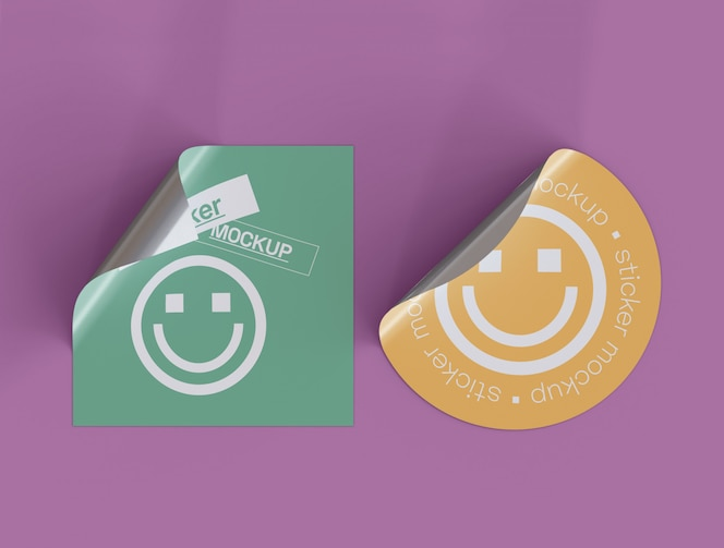 Set of Two Adhesive Stickers mockup