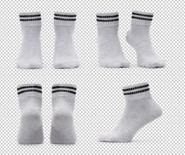 Set of various grey crew socks mockup