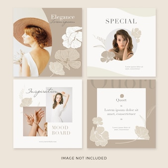 Set of vintage square banner template