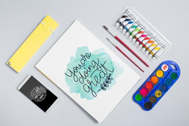 Set of watercolors and tempera