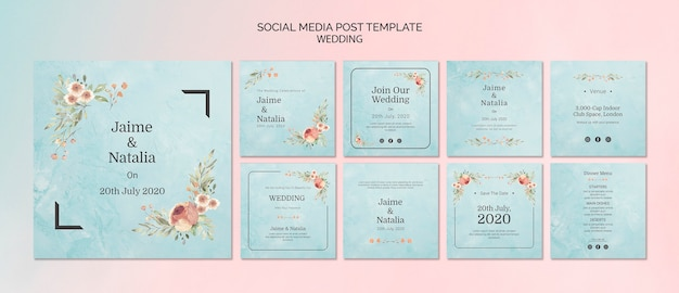 Set of wedding invitations for social media