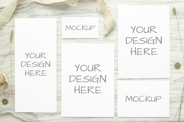 Set of wedding mockups collage cards with herbs