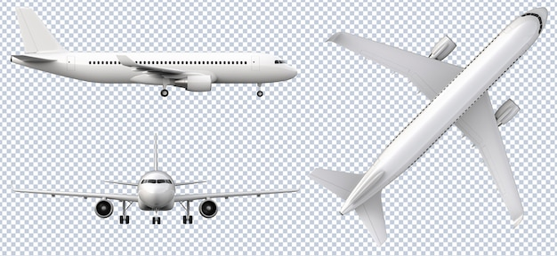 Set of white airplanes in different views