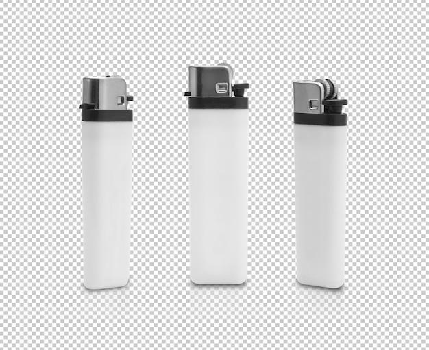 Set of white plastic gas lighter