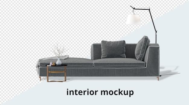 Setinterior decoration set in 3d rendering