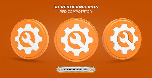 Значок настройки в 3d-рендеринге