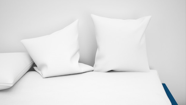 Several white cushions closeup
