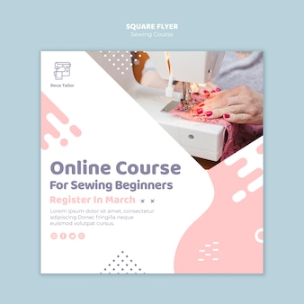 Sewing course for beginners square flyer