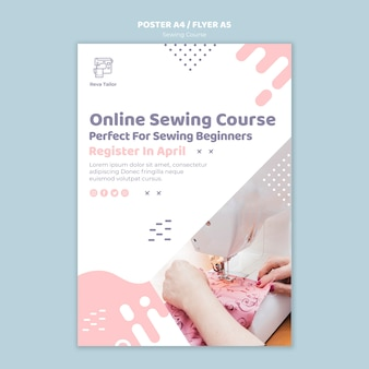 Sewing course poster template