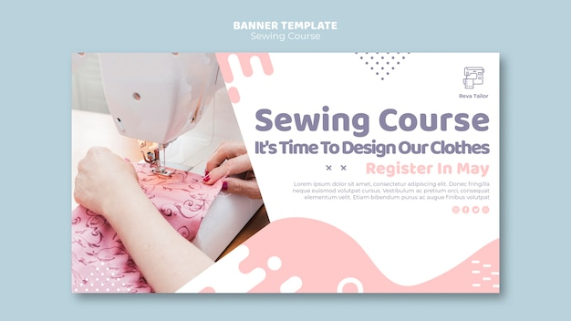Sewing tutorial banner template