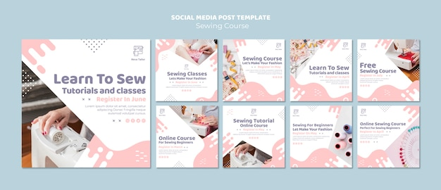 Sewing tutorial and classes social media post template