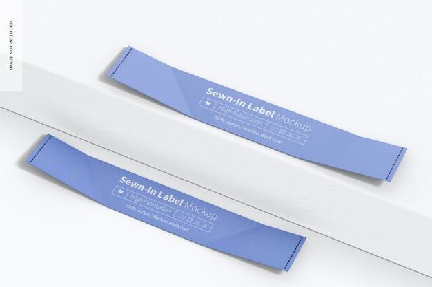Etichette cucite sul mockup di superficie