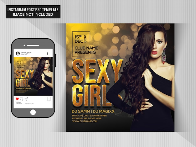Sexy girl party flyer Premium Psd