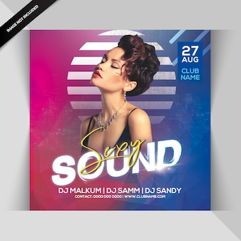 Sexy sound party flyer шаблон