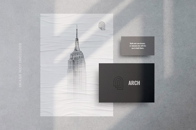 Shadow stationery with poster and business card stationery mockup