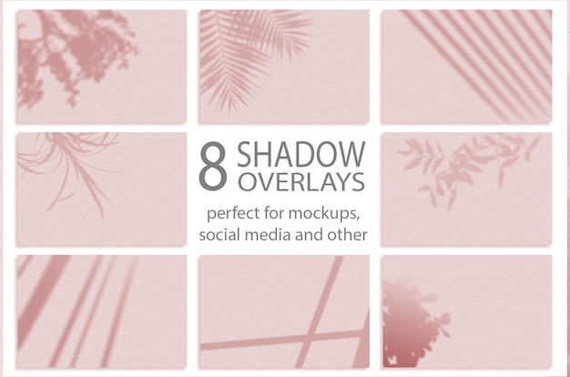 Shadows mockup. summer background of shadows branch leaves. for overlaying a photo or mockup. set 8 shadows