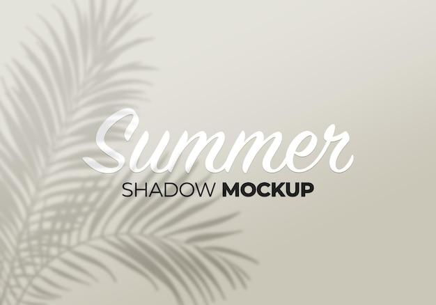Shadows mockup tropic palm leaves on a white wall