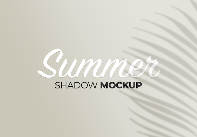 Shadows overlay mockup tropic palm leaves on a white wall