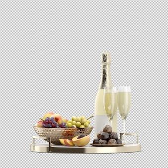 Шампанж с фруктами 3d визуализации
