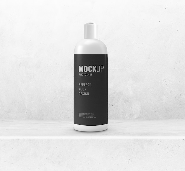 Shampoo bottle on cement floor mockup