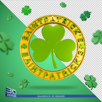 Shamrock icon saint patricks day 3d render isolated
