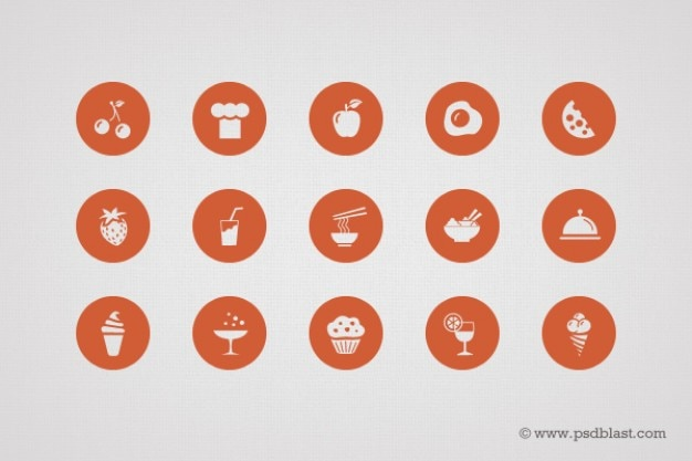 Shape food icons in psd