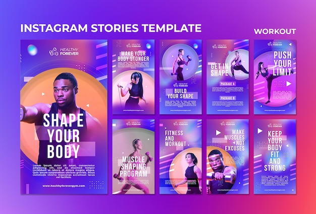 Shape your body social media stories template