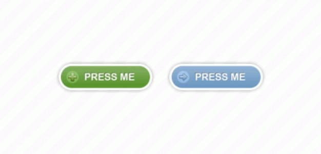 Shaped press buttons in green and blue