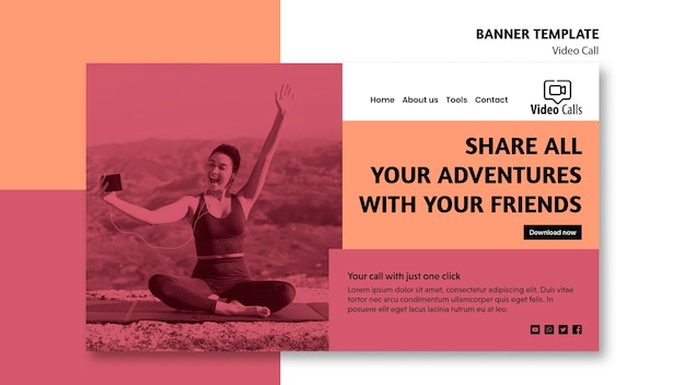 Share all your adventures with friends banner template