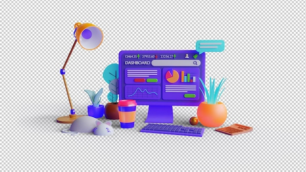 Рендеринг 3d-иллюстрации панели инструментов рынка акций