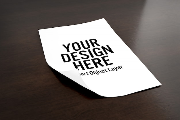 Sheet of paper mock up