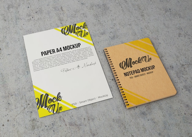 Sheet of paper and notebook mockup