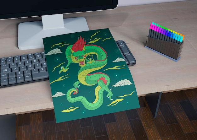 Sheet with colorful snake design on desk