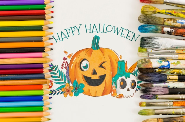 Sheet with happy halloween concept