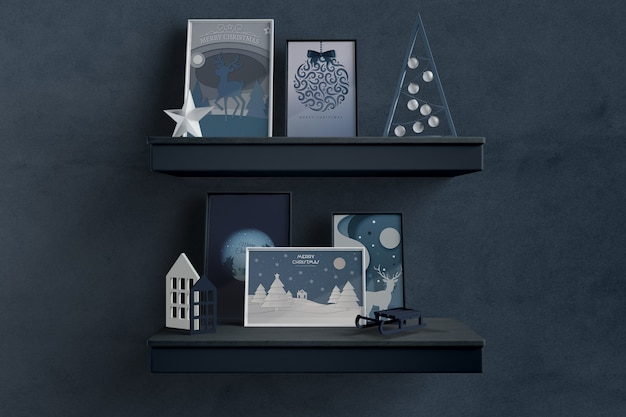 Shelfs with thematic frames for christmas