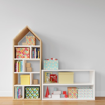 Shelves with colorful boxes