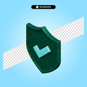 Shield 3d render illustration isolated